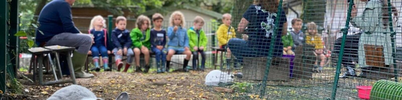 Op bezoek bij de konijnen van Schoolhoeve De Campagne